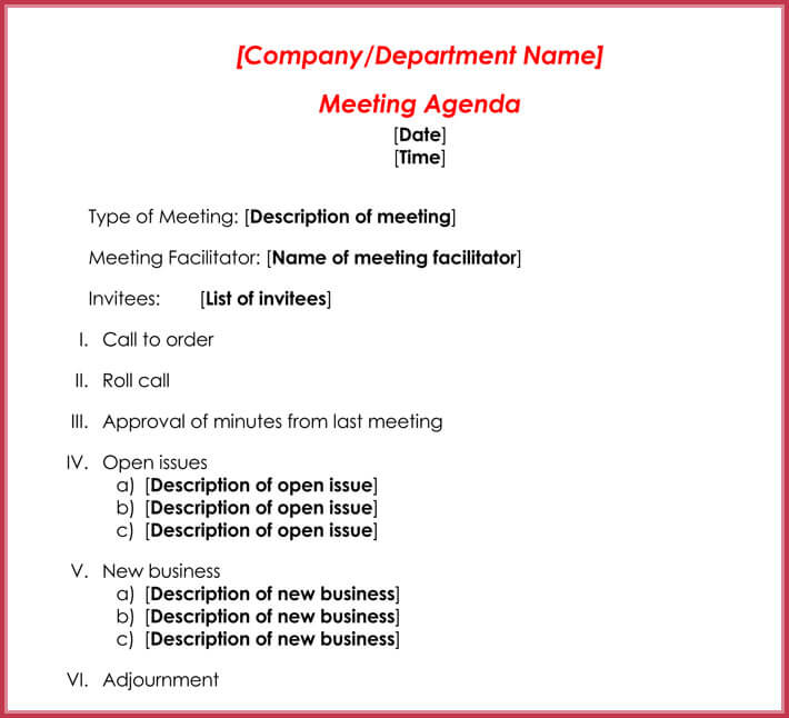 Formal Meeting Agenda Template - 12+ Best Samples for Word  PDF