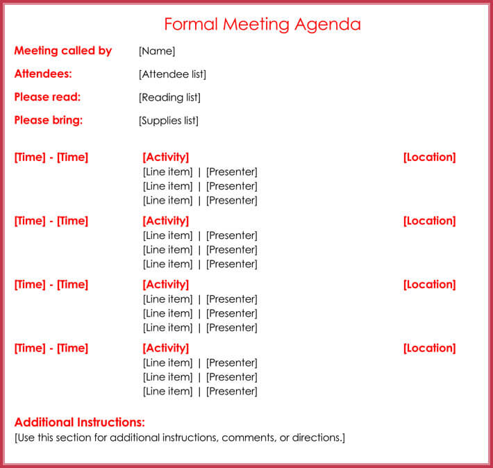 Formal Meeting Agenda Template - 12+ Best Samples for Word  PDF - attendees list template