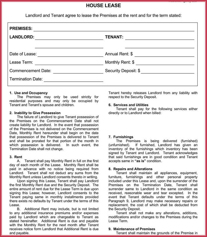 House Rental Agreement Form  Templates - Write Perfect Agreement - rental lease agreement