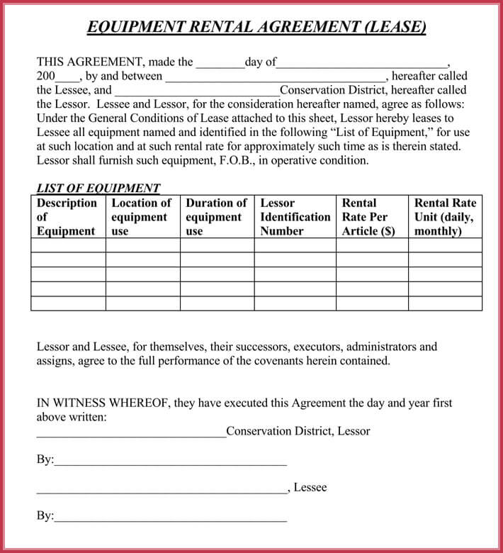 Equipment Rental Lease Agreement - 12+ Samples, Formats in PDF  Word