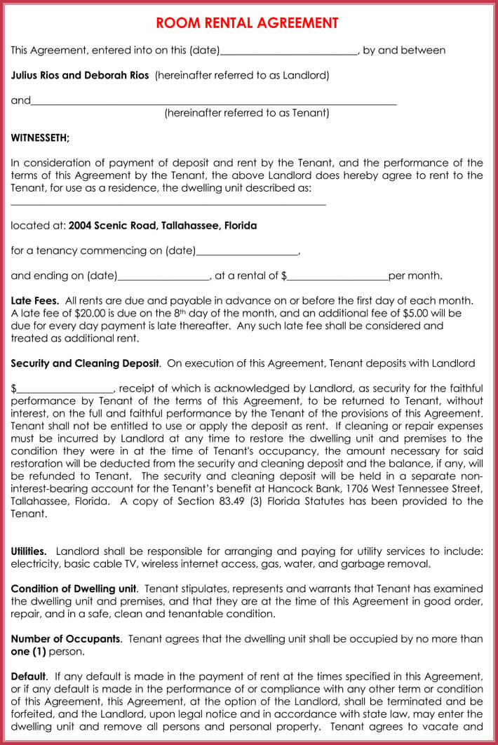 Room Rental Agreement - 9+ Samples to Write Perfect Room Agreement