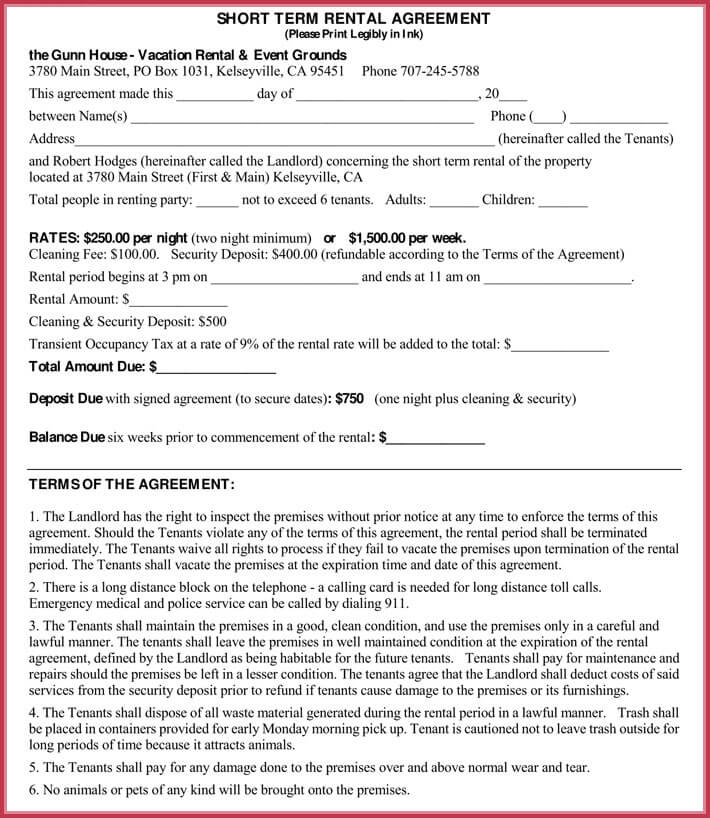 Short-term Rental Agreement Samples, Forms  Writing Tips - Sample Short Term Rental Agreement