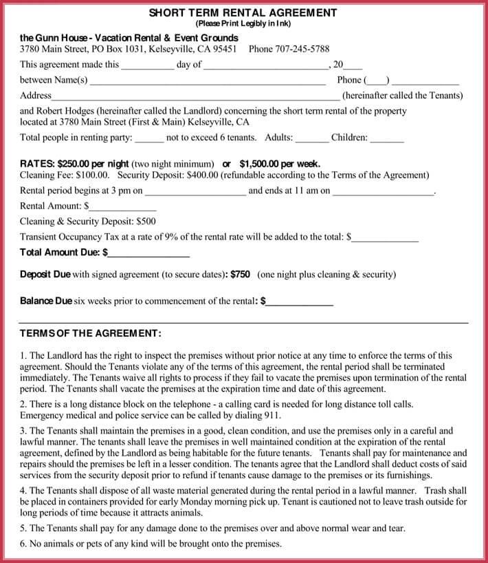 Short-term Rental Agreement Samples, Forms  Writing Tips - sample short term rental agreement