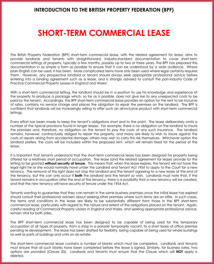 Short-term Rental Agreement Samples, Forms  Writing Tips
