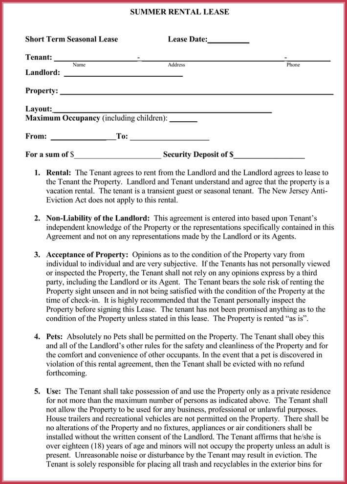 Short-term Rental Agreement Samples, Forms  Writing Tips - short term rental agreement