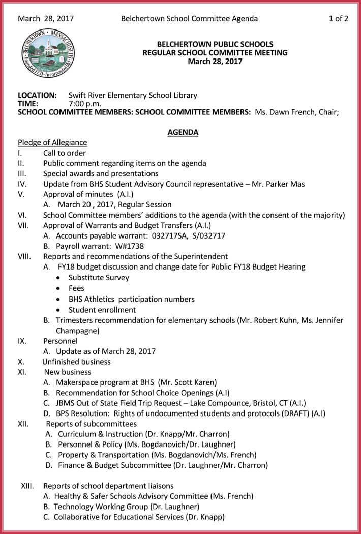 simple meeting agenda template word