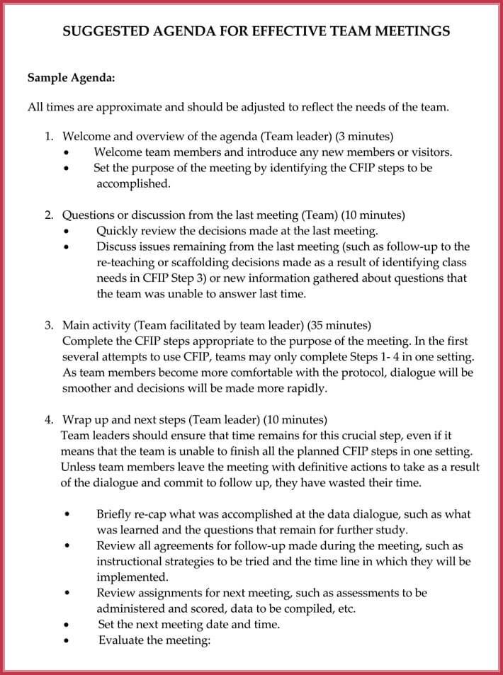 Team Meeting Agenda Template - 7+ Samples, Format in Word  PDF
