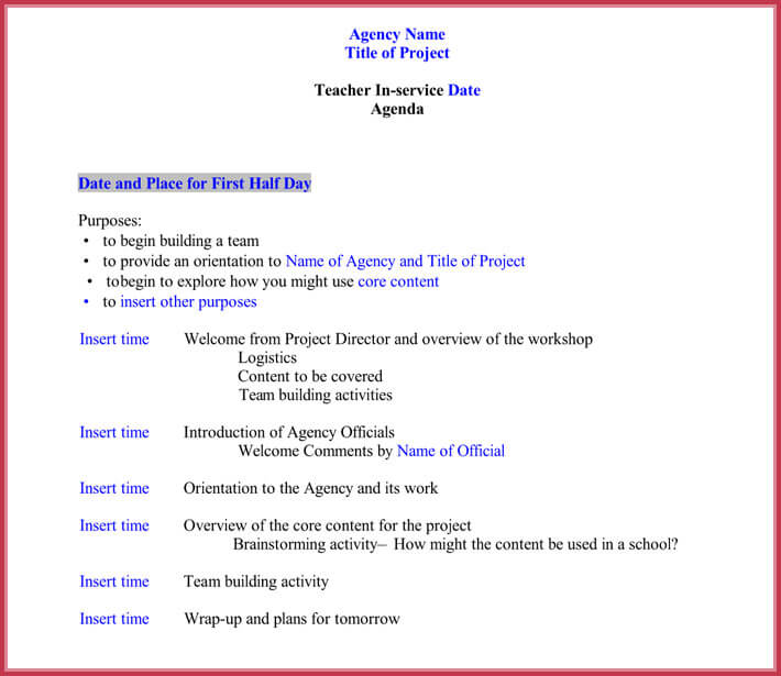 7+ Staff Meeting Agenda Templates, Samples in Word  PDF Format