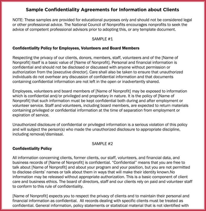 Basic Confidentiality / Non-Disclosure Agreement Forms  Templates - financial confidentiality agreements