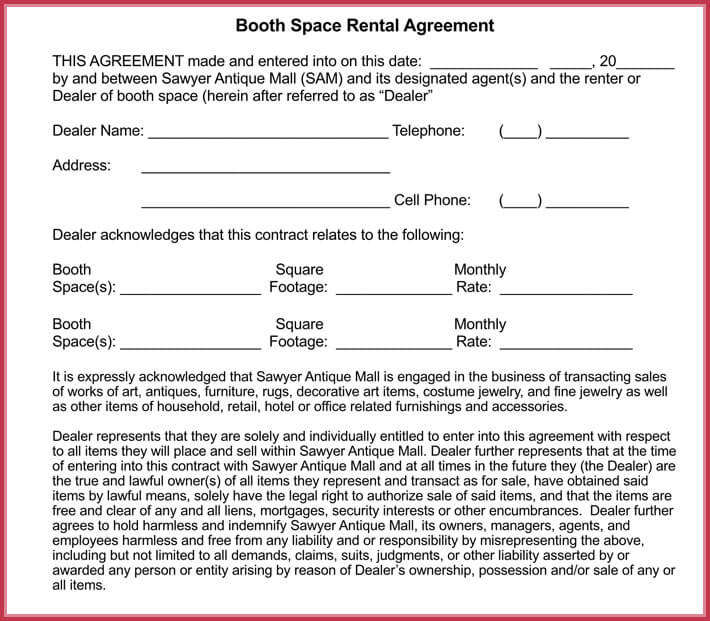 Booth Rental Agreement Template - 12 + FREE Samples, Forms - simple rental agreements