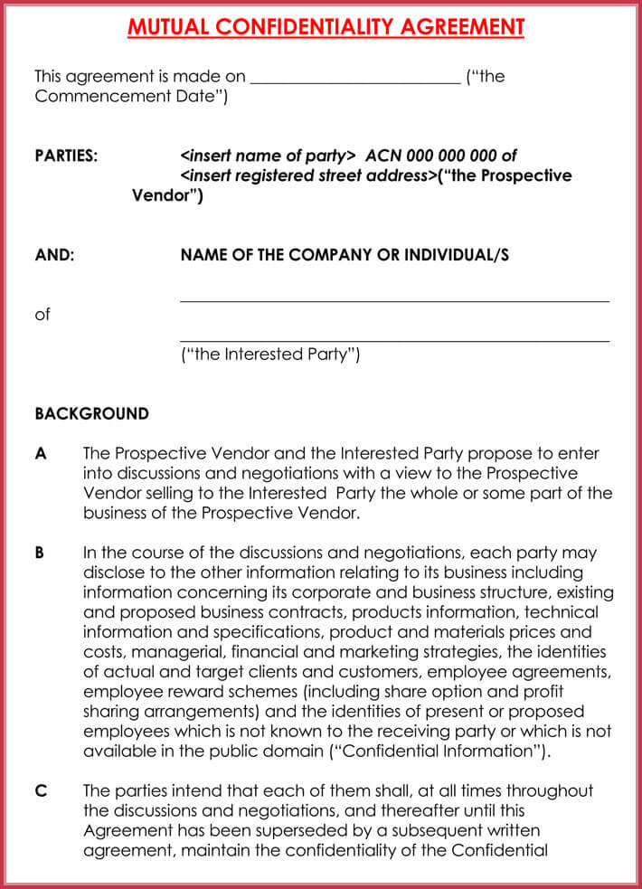 Business Confidentiality Agreement - NDA, CDA, PIA - Best Samples - vendor confidentiality agreement