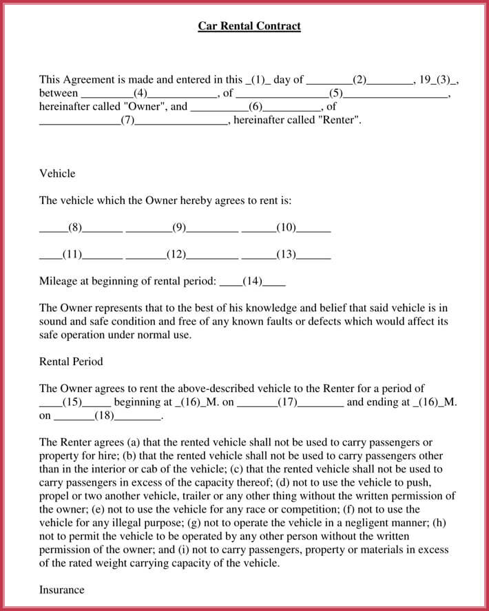 Car Rental Agreement - 7+ Samples, Forms - Download in Word  PDF
