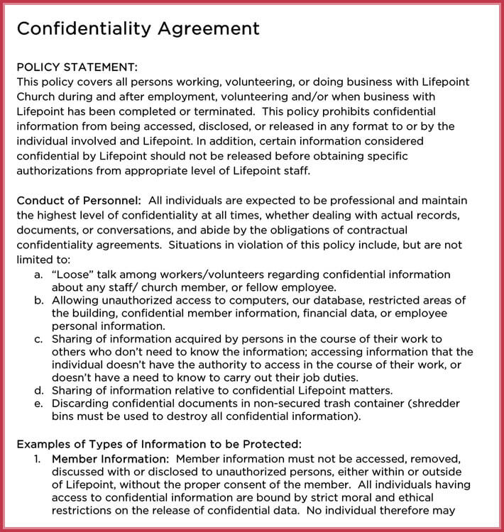 Church Confidentiality Agreement - 10+ Best Samples, Form  Templates - confidentiality agreement free template