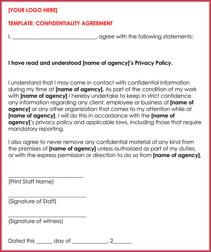10+ Client Confidentiality Agreement Templates, Forms  Samples