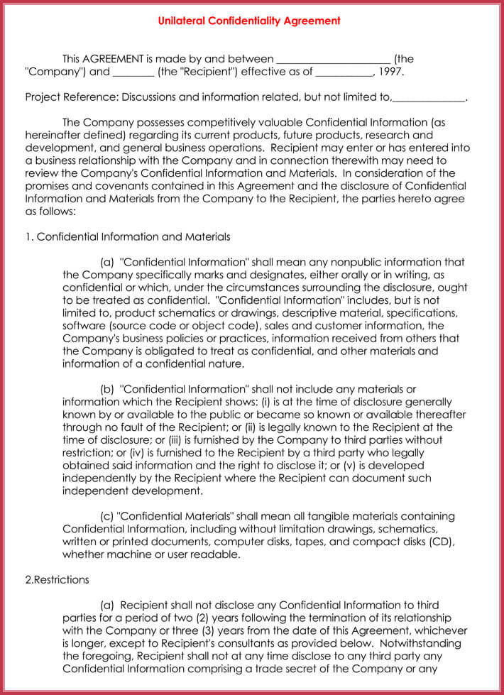 Confidential Disclosure Agreements - 8+ Best Samples to Start With