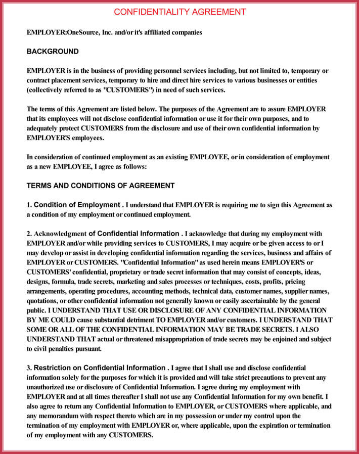 Sample Contractor Confidentiality Agreement - Download in Word, PDF
