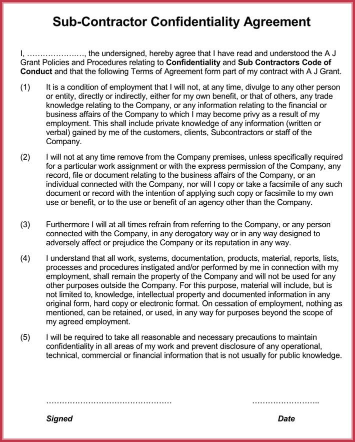 Sample Contractor Confidentiality Agreement - Download in Word, PDF - financial confidentiality agreements
