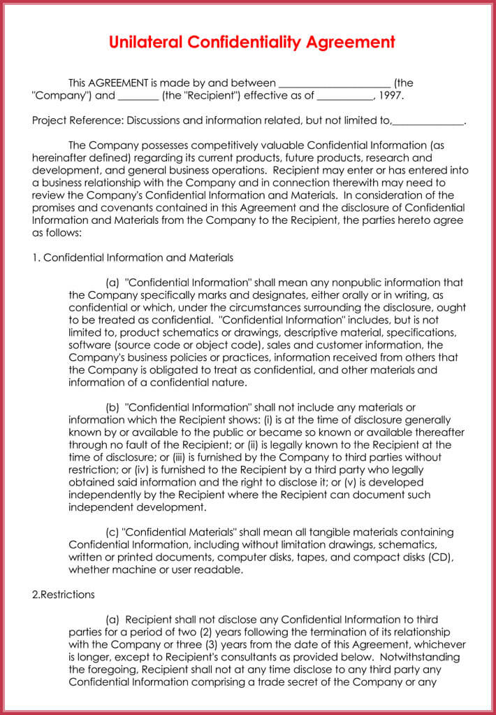 Data Confidentiality Agreement - How to Write It  9+ Free Samples