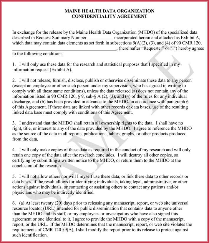 Data Confidentiality Agreement - How to Write It  9+ Free Samples - confidentiality agreement sample