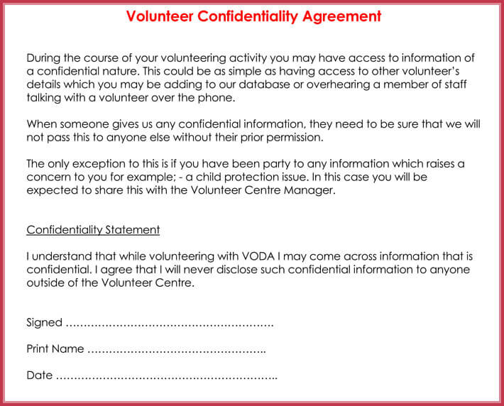 Volunteer Confidentiality Agreement Samples - 8+ Best Formats