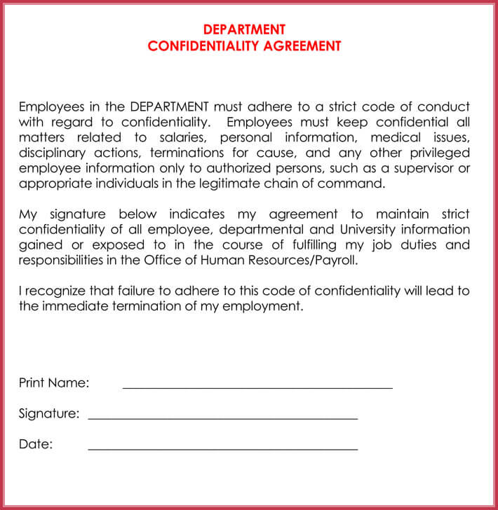 Write Human Resources Confidentiality Agreement with Free Samples - employee confidentiality agreement