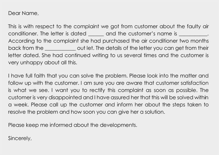 complaint sample letter