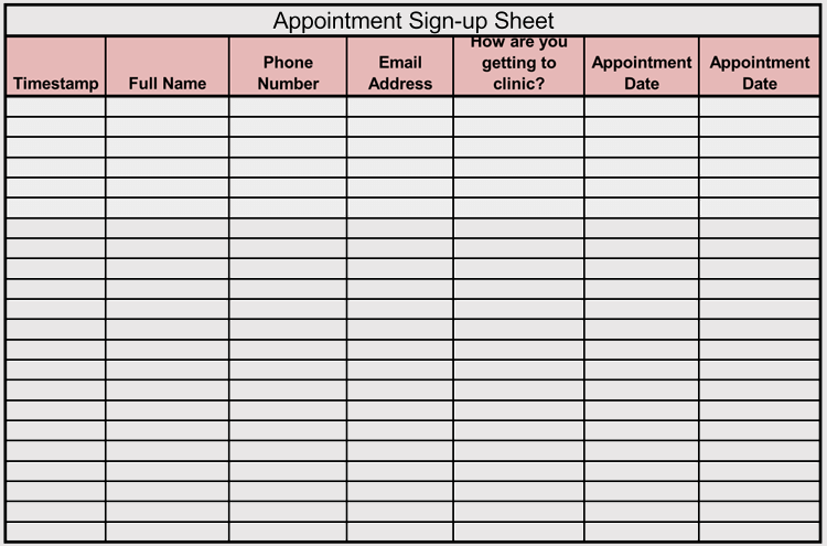 sign up sheet template excel