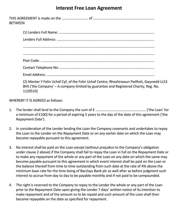 45+ Loan Agreement Templates  Samples (Write Perfect Agreements) - interest free loan agreement template