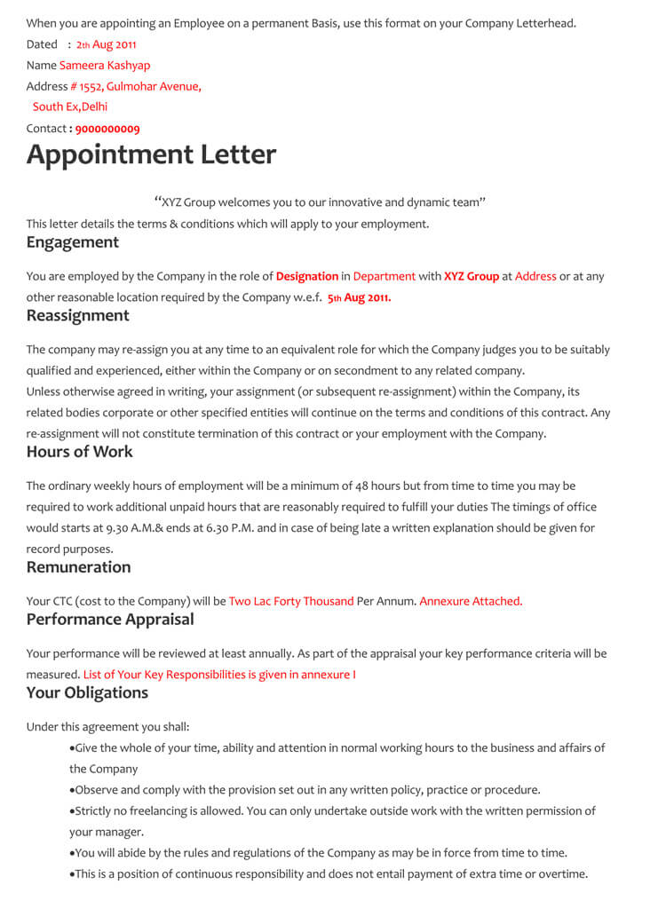 60+ Samples of Appointment Letter Format in PDF and Word