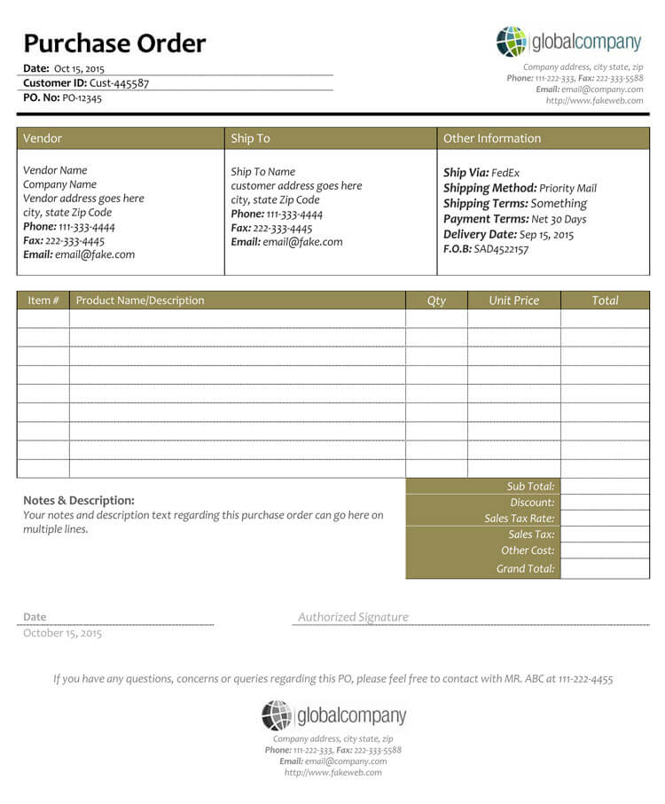 40+ Free Purchase Order Templates Forms Samples (Excel  Word)