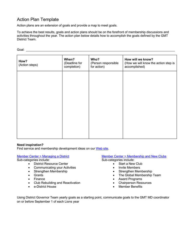 project action plan template - Barcaselphee