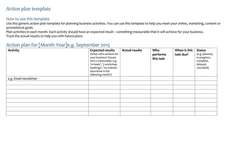 58 Free Action Plan Templates  Samples - An Easy Way to Plan Actions