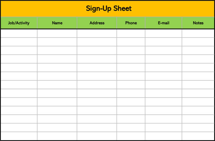 26+ Free Sign Up Sheet Templates (Excel  Word)