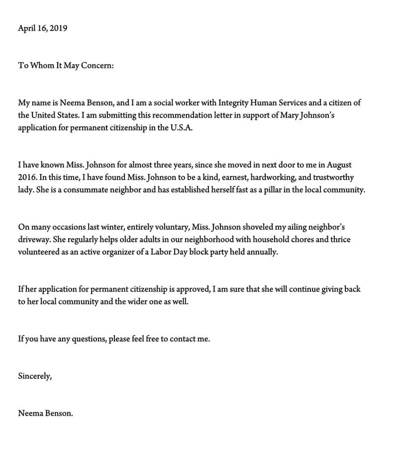 sample support letter for immigration
