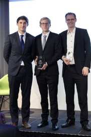 Medincle receiving an award from The British Banking Association/ Mentors Me, together with business mentor Duncan Webster.