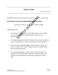 Quit Form - Free Printable Documents