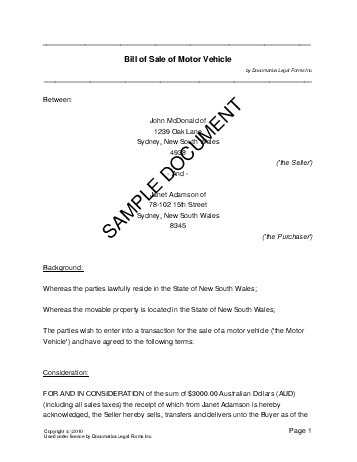 Bill of Sale (Australia) - Legal Templates - Agreements, Contracts - private car sale contract template