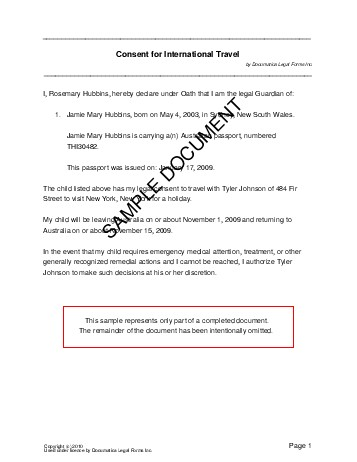 sample travel consent letter - Onwebioinnovate - permission to travel letter template