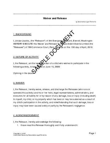 Waiver and Release (Australia) - Legal Templates - Agreements - indemnity form template