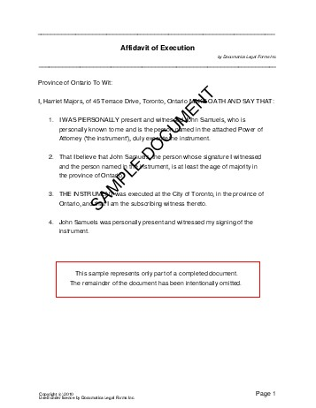 Affidavit of Execution (Canada) - Legal Templates - Agreements