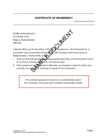 Certificate of Incumbency (Canada) - Legal Templates - Agreements - certification of employment sample