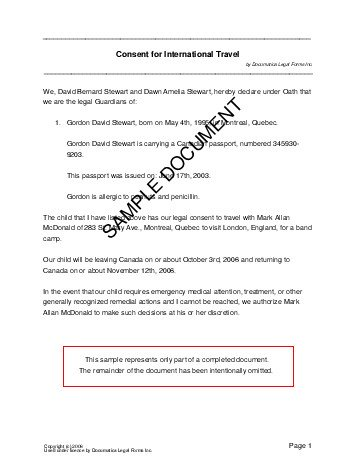 free child travel consent form template canada recommended consent letter for children travelling abroad minor child