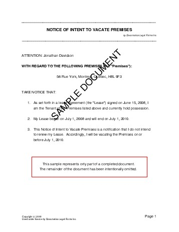 Notice of Intent to Vacate Premises (Canada) - Legal Templates - notice to vacate template