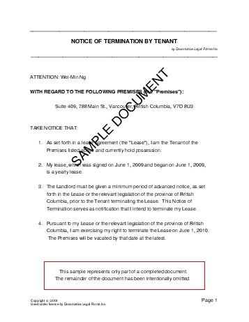 Notice of Termination by Tenant (Canada) - Legal Templates - sample lease termination letter