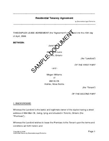 Residential Rental/Lease (Canada) - Legal Templates - Agreements