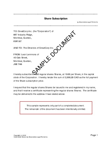 Subscription Agreement Template Sample Software Form Simple In