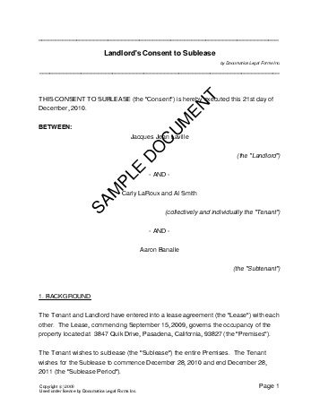 Landlords Consent to Sublease (India) - Legal Templates - sublease agreement