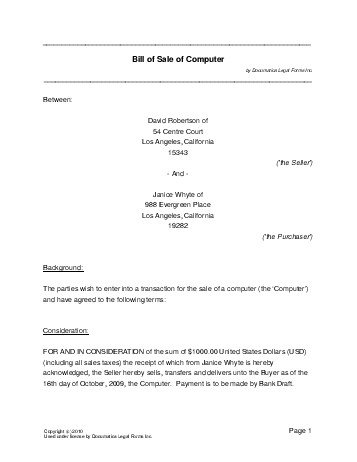 Free Computer Bill of Sale (New Zealand) - Legal Templates - legal bill of sale template