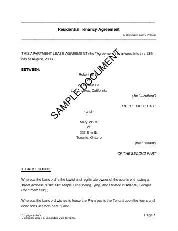 Residential Rental\/Lease (New Zealand) - Legal Templates - apartment rental contract sample