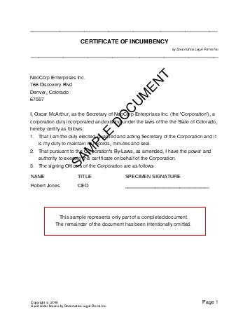 Certificate of Incumbency (Pakistan) - Legal Templates - Agreements - certificate samples